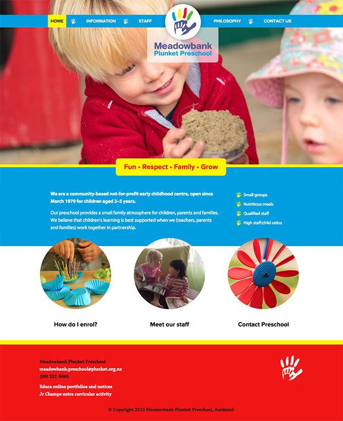 Meadowbank Plunket Preschool website