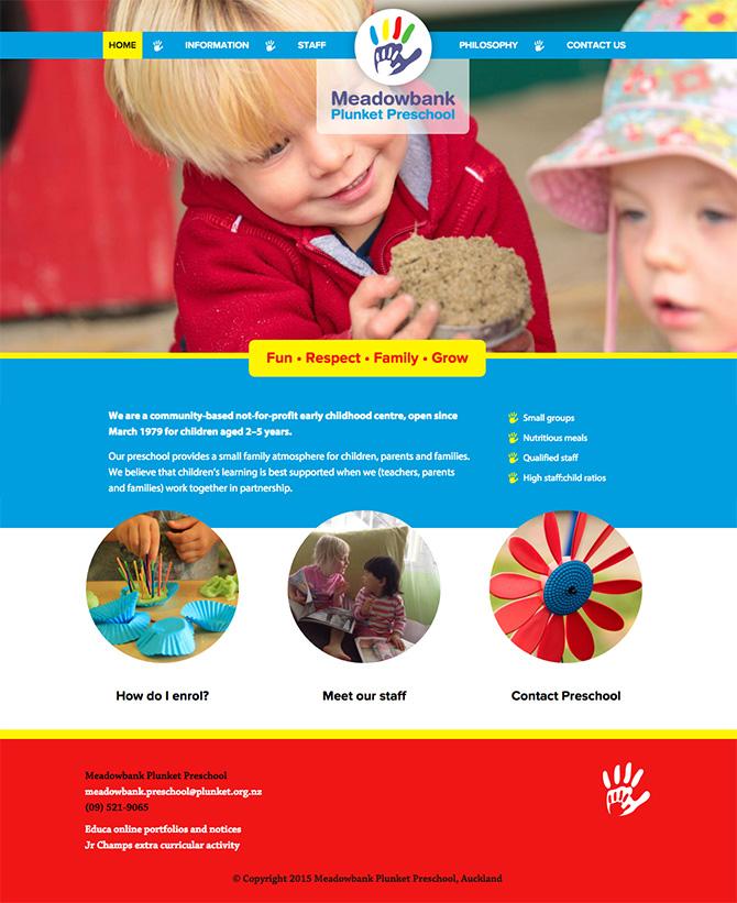 Meadowbank Plunket Preschool website